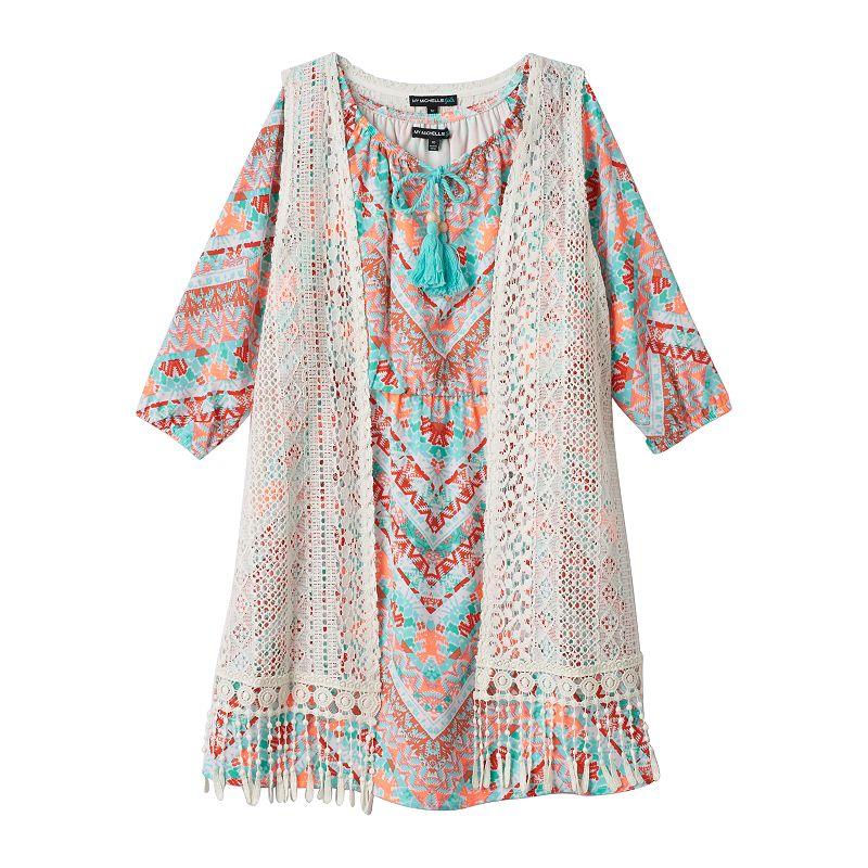Girls 7-16 My Michelle Tasseled Peasant Dress & Crochet Vest