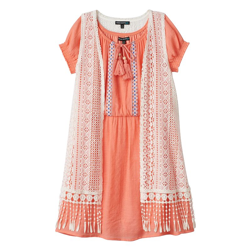 Girls 7-16 My Michelle Solid Peasant Dress & Crochet Vest