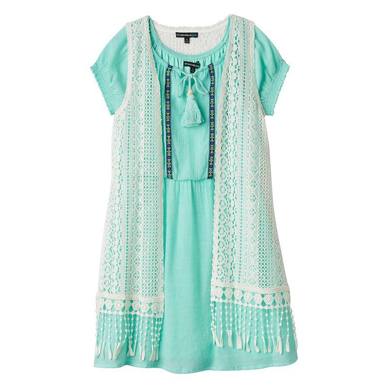 Girls 7-16 My Michelle Solid Peasant Dress & Crochet Vest