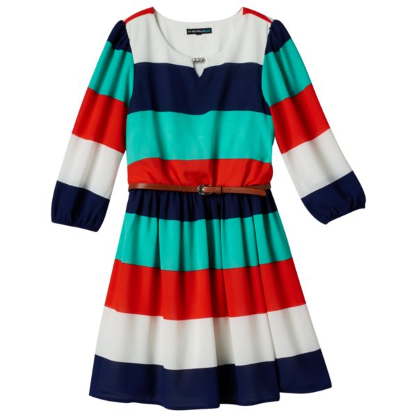 Girls 7-16 My Michelle Striped Peasant Dress