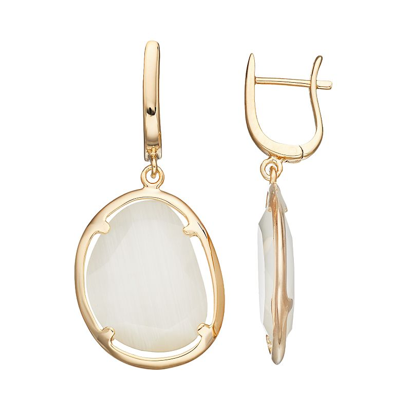 14k Gold Over Silver Yellow Lab-Created Cat's-Eye Drop Earrings