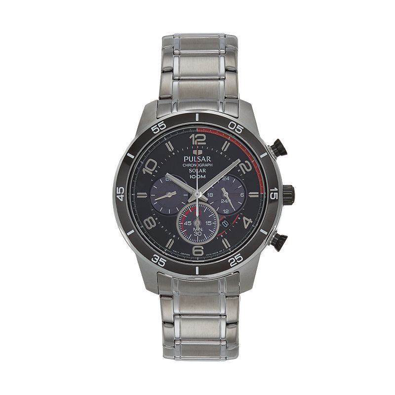 Pulsar Men's On The Go Stainless Steel Solar Chronograph Watch - PX5055