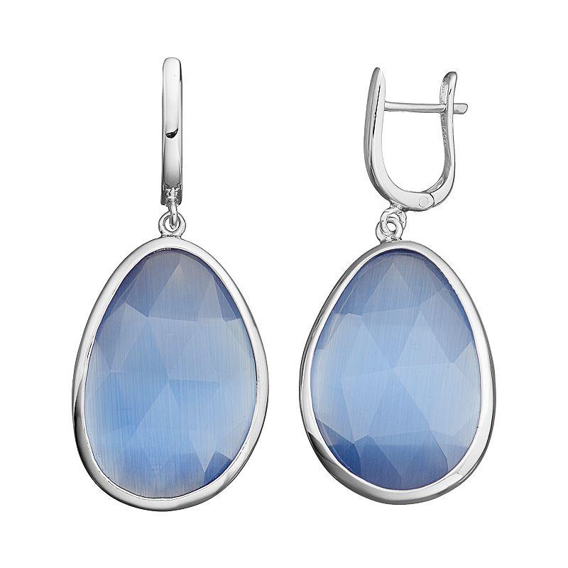 Sterling Silver Lab-Created Dark Blue Cat's-Eye Teardrop Earrings