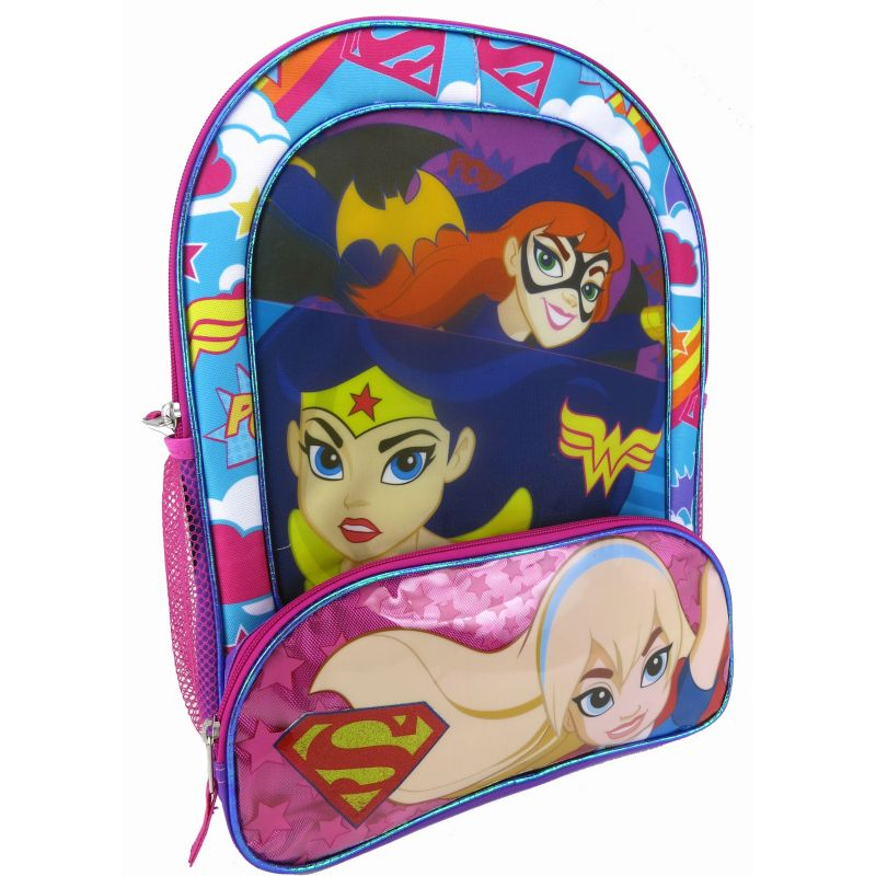 Kids DC Comics Supergirl, Batgirl & Wonder Woman Girls Backpack, Multicolor