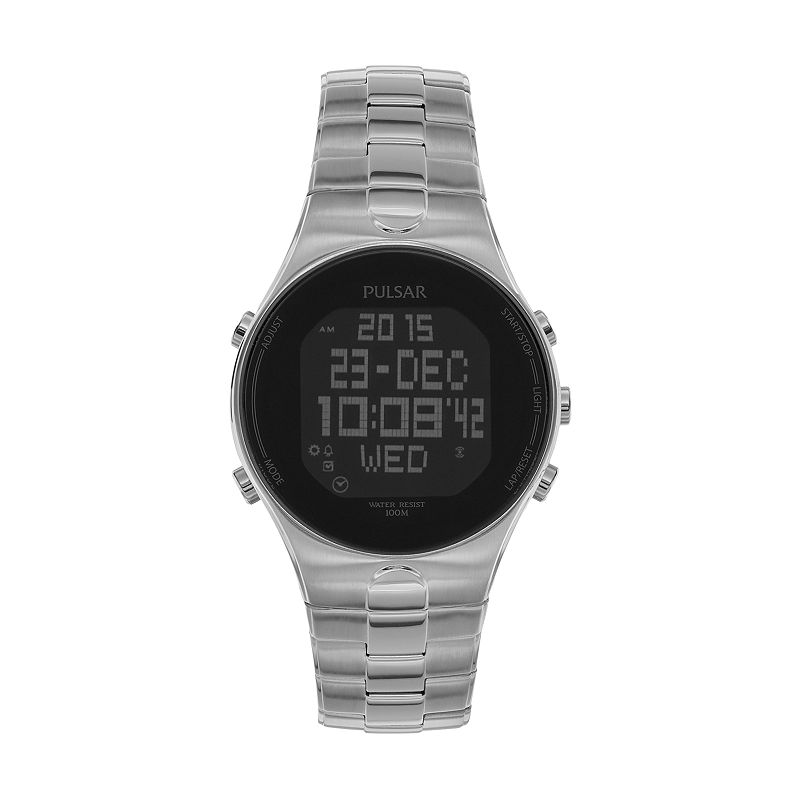 Pulsar Men's On The Go Stainless Steel Digital Chronograph Watch