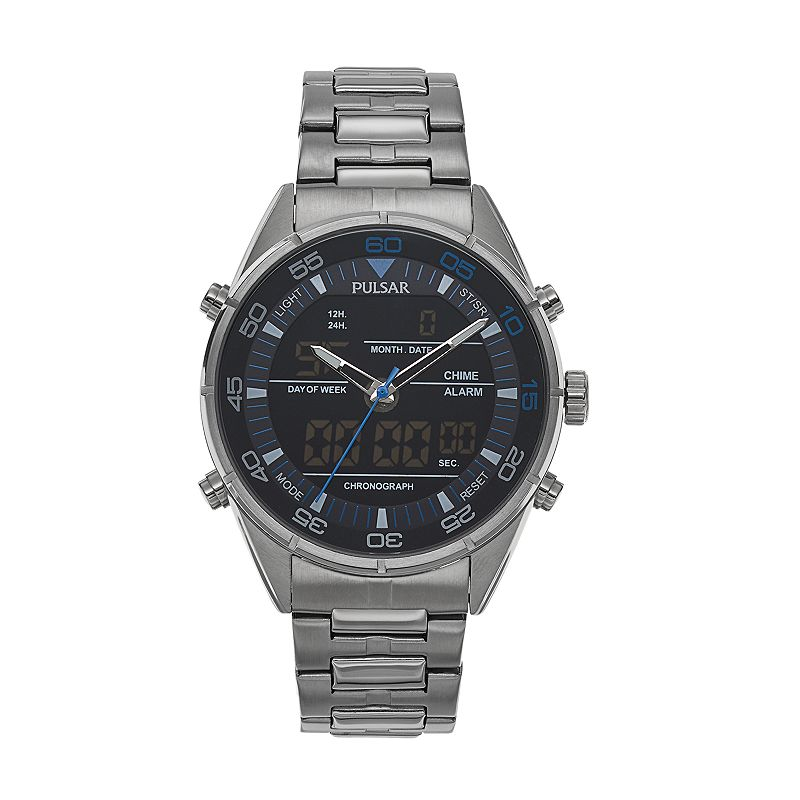 Pulsar Men's On The Go Stainless Steel Analog & Digital Chronograph Watch - PW6017