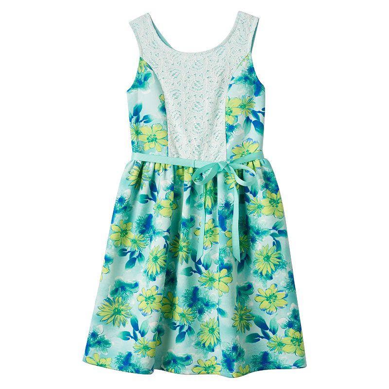 Girls 7-16 Speechless Floral Lace Scuba Dress