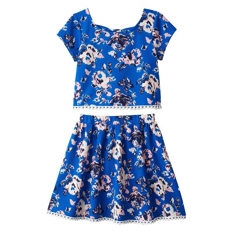Girls 7-16 Speechless Bow-Back Top & Textured Knit Skirt