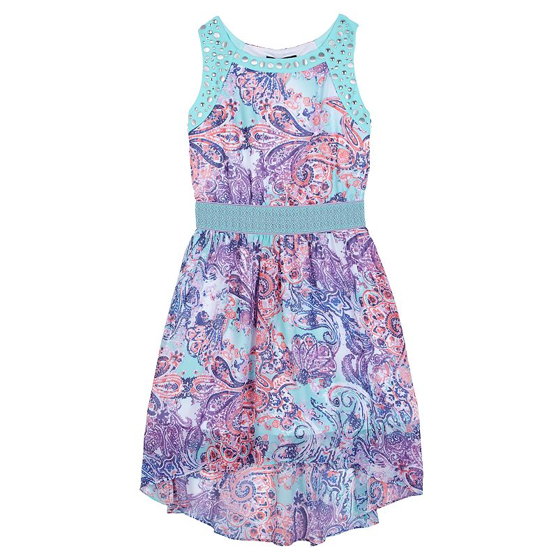 Girls 7-16 IZ Amy Byer Abstract Paisley High-Low Dress