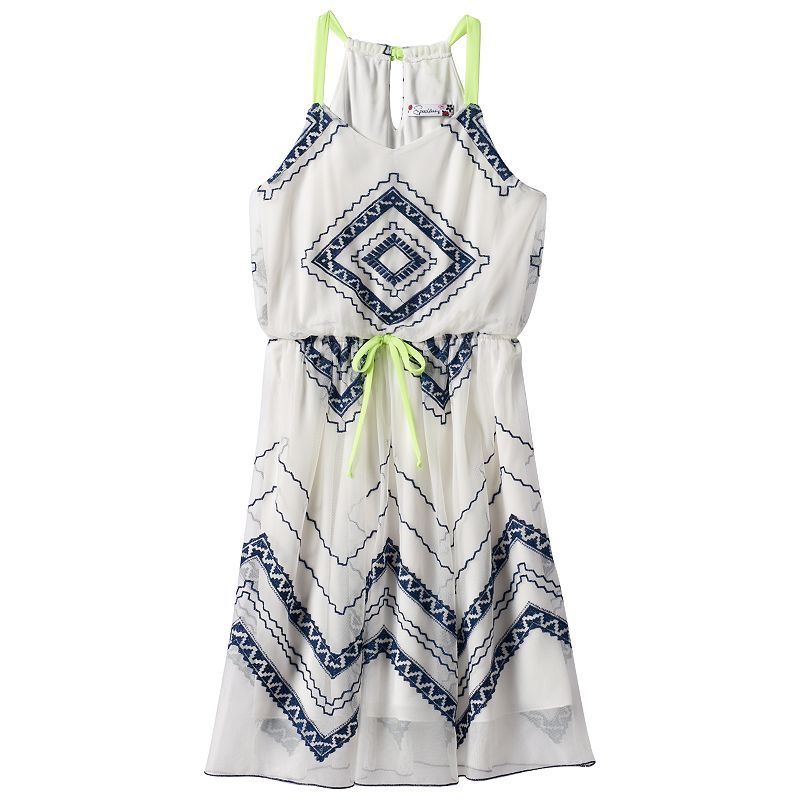 Girls 7-16 Speechless Geometric Lace Dress
