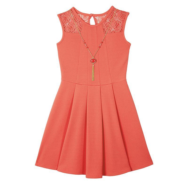 Girls 7-16 IZ Amy Byer Textured Lace & Pleat Skater Dress