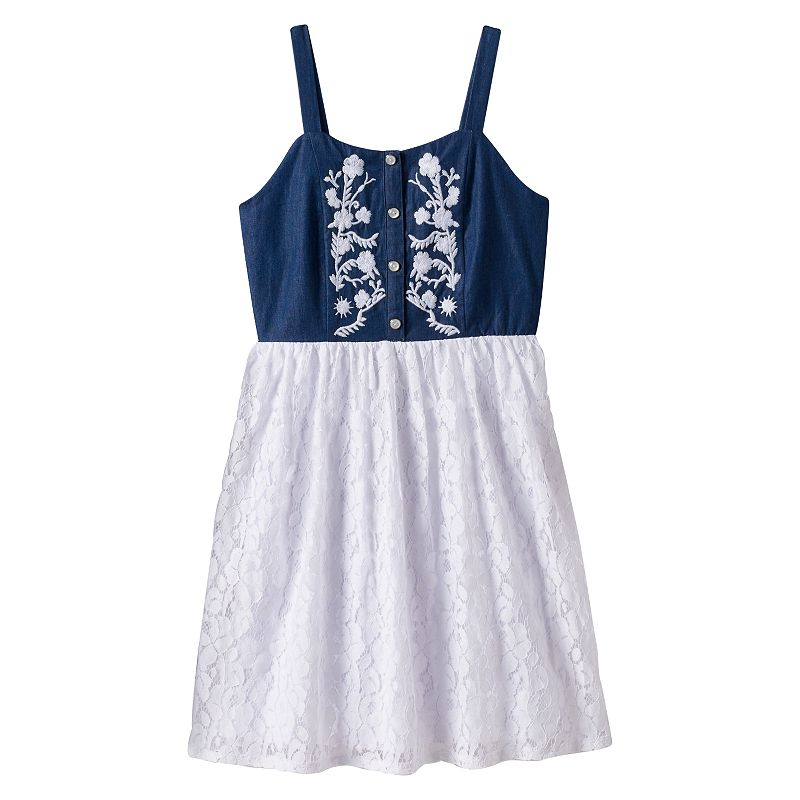Girls 7-16 Speechless Embroidered Denim Lace Dress