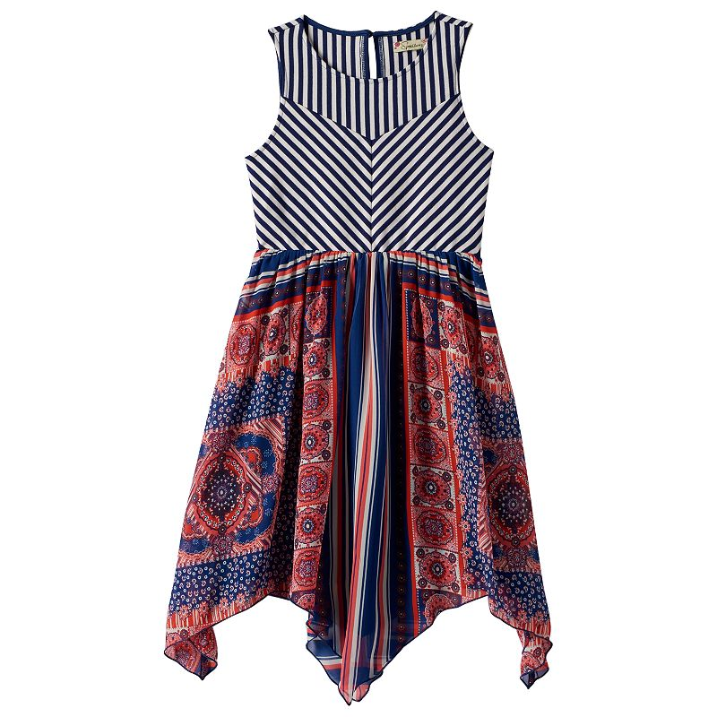 Girls 7-16 Speechless Striped Ponte Dress