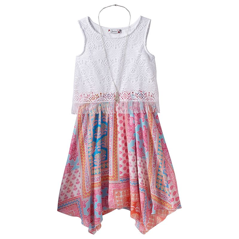Girls 7-16 Speechless Crochet Dress & Necklace