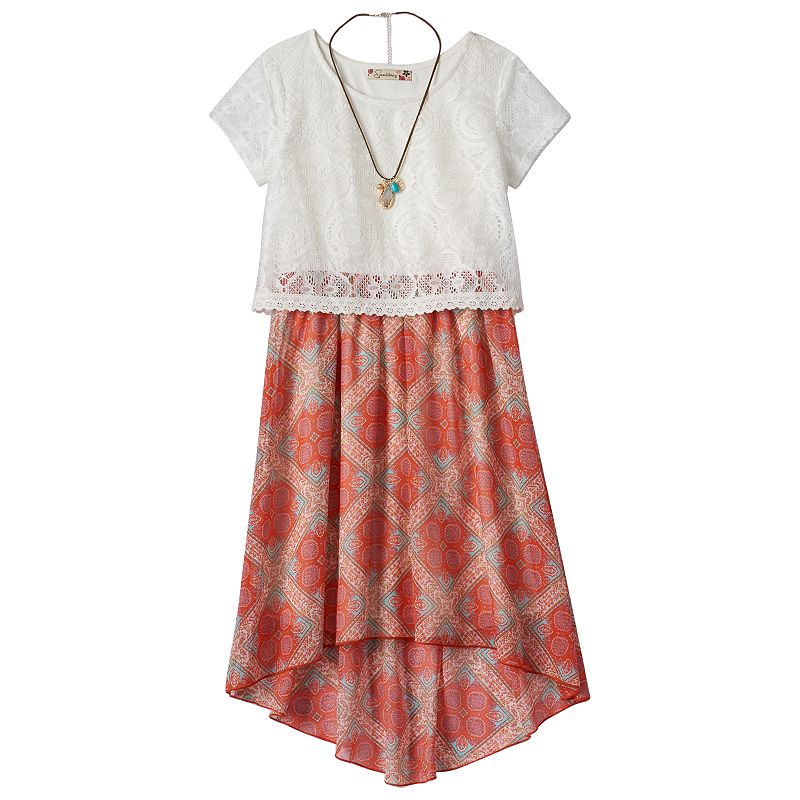 Girls 7-16 Speechless Lace High-Low Dress & Necklace