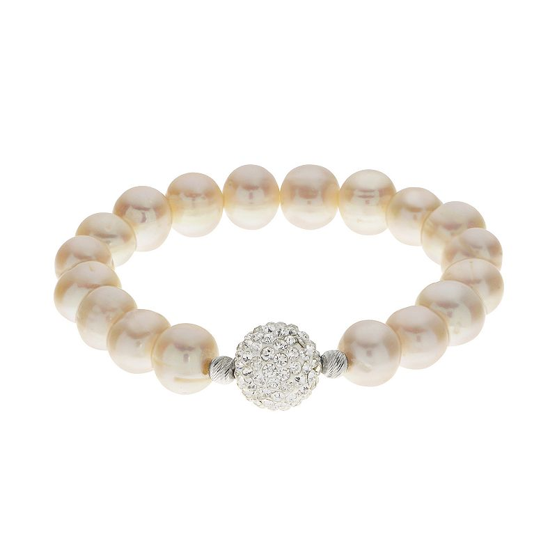PearLustre by Imperial Freshwater Cultured Pearl & Crystal Stretch Bracelet