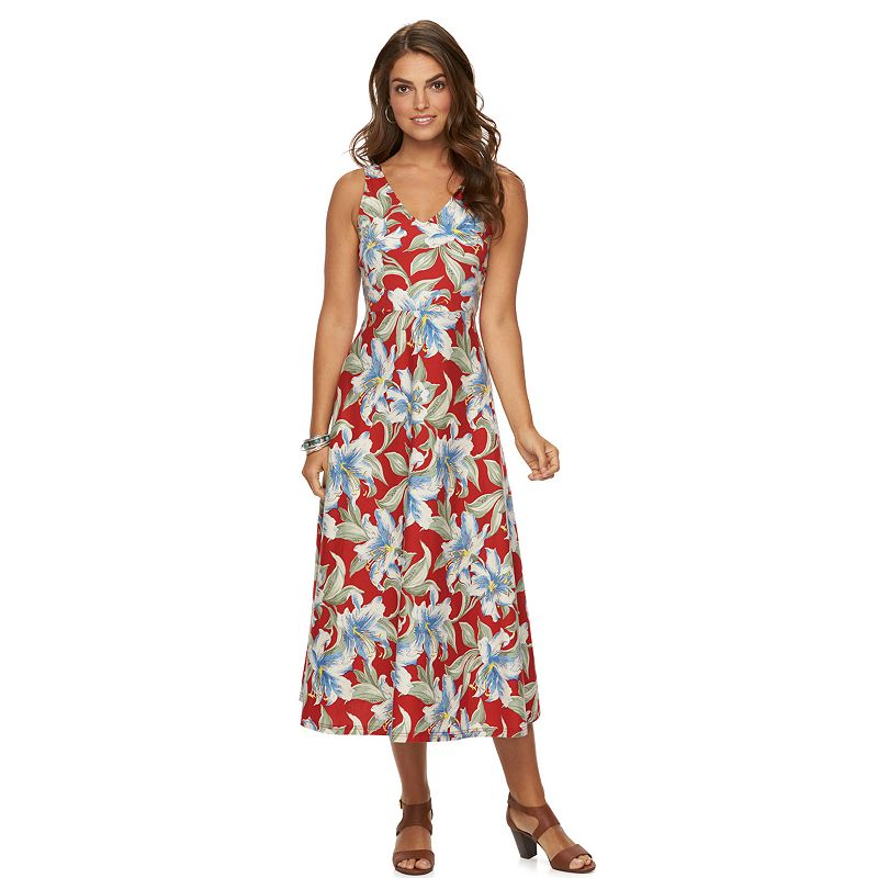Petite Chaps Tropical V-Neck Maxi Dress