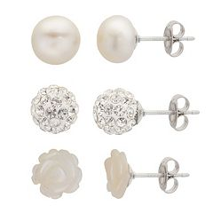 PearLustre by Imperial Freshwater Cultured Pearl, Mother-of-Pearl & Crystal Stud Earring Set