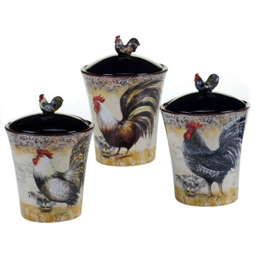 certified international vintage rooster 3 pc kitchen vintage red rooster brand canisters baubles n bling