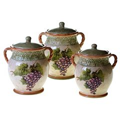 Certified International Sanctuary Wine 3-pc. Kitchen Canister Set by