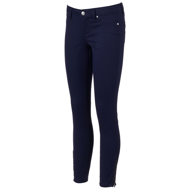 Juniors' Almost Famous Ankle-Zip Skinny Jeans