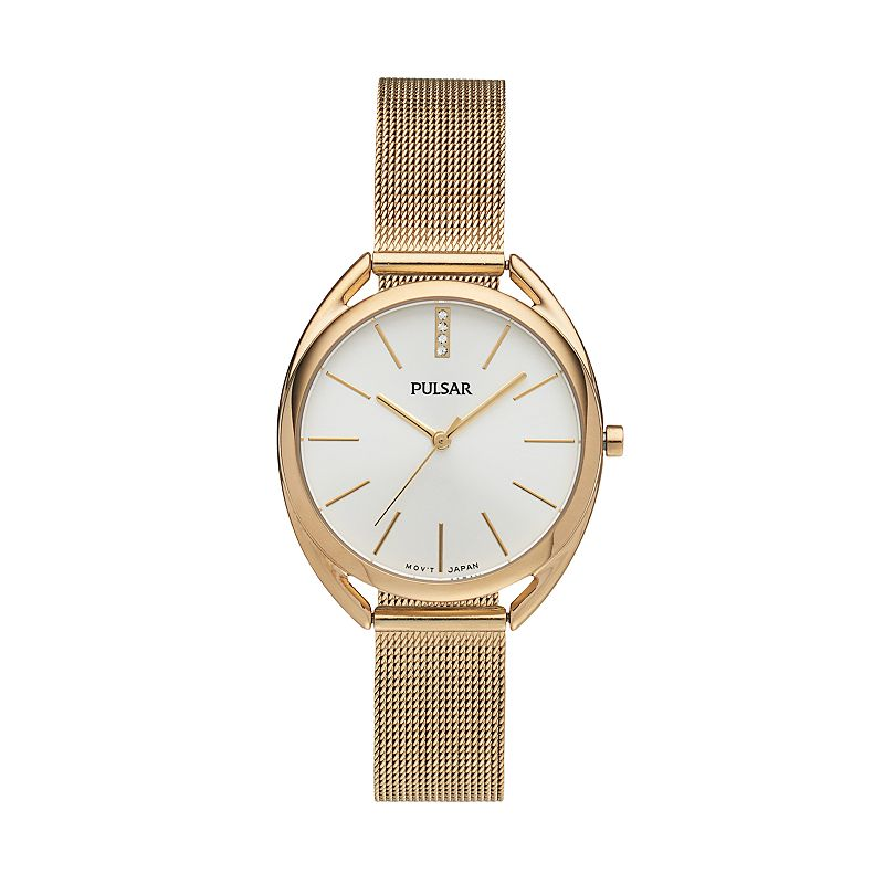 Pulsar Women's Easy Style Crystal Stainless Steel Mesh Watch - PG2038