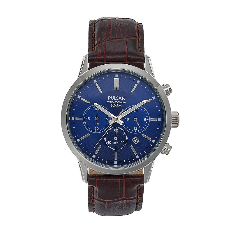 Pulsar Men's Leather Chronograph Watch - PT3789X