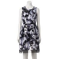 Women's DR by Donna Ricco Pleated Floral Fit & Flare Dress