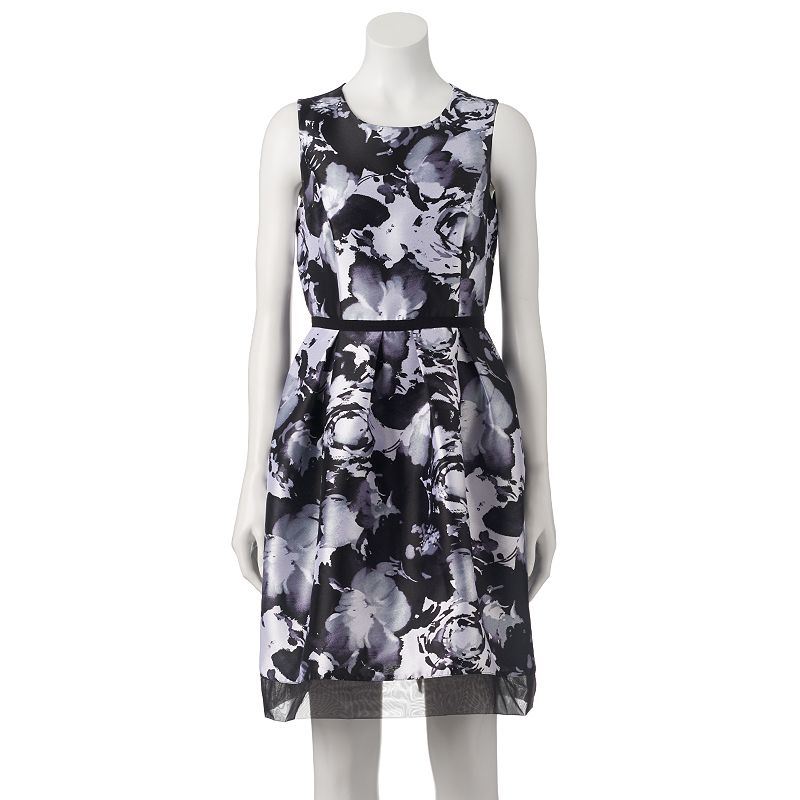 Women's Donna Ricco Pleated Floral Fit & Flare Dress