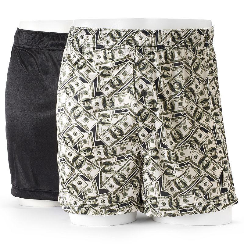 Men's Croft & Barrow® 2-pack Solid & Novelty Microfiber Knit Boxers