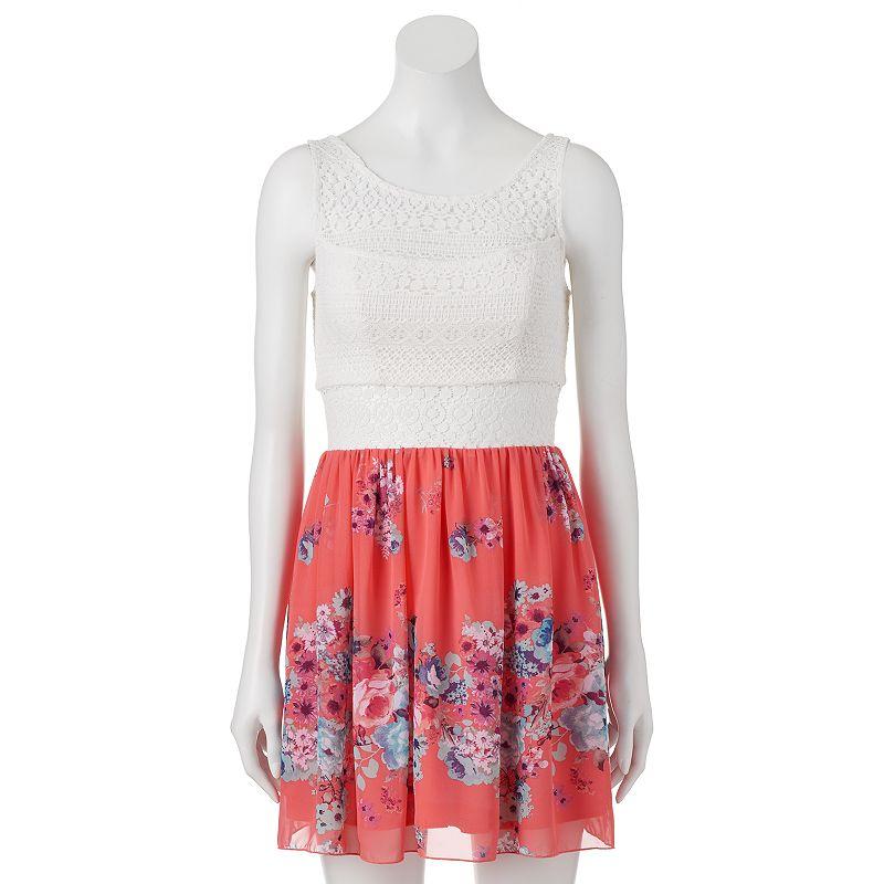 Juniors' Trixxi Lace & Floral Dress