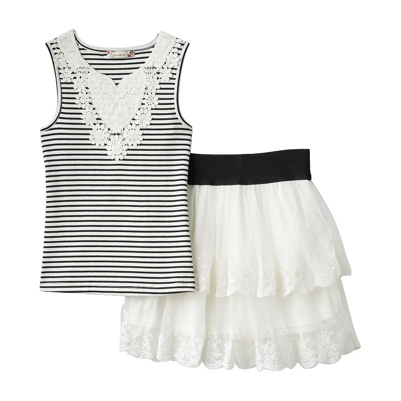 Girls 7-16 Speechless Striped Floral Tank & Tiered Skirt