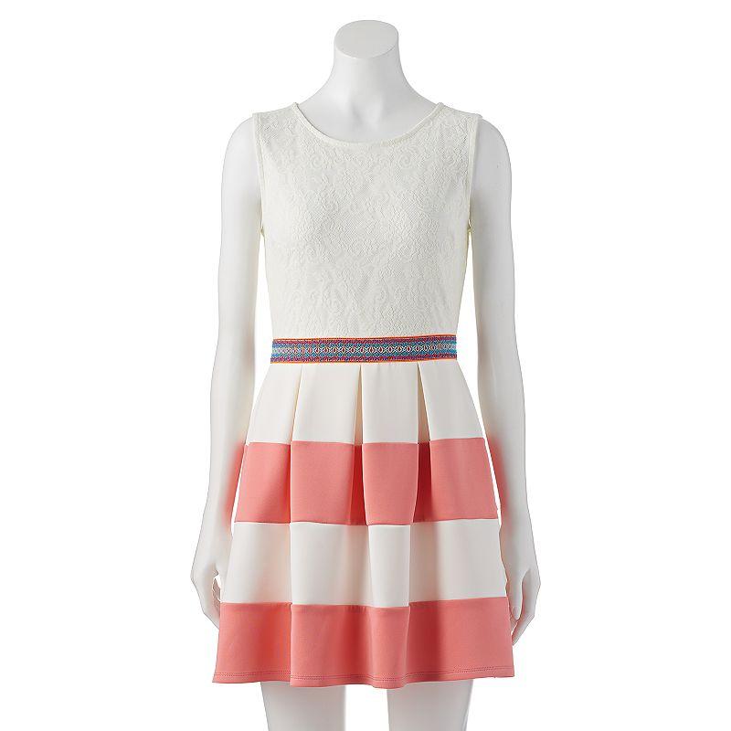Juniors' Speechless Striped Pleated Tank Dress