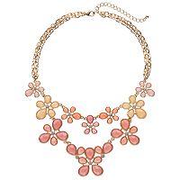 Pink & Peach Flower Statement Necklace