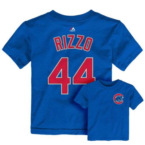 Toddler Majestic Chicago Cubs Anthony Rizzo Player Name and Number Tee