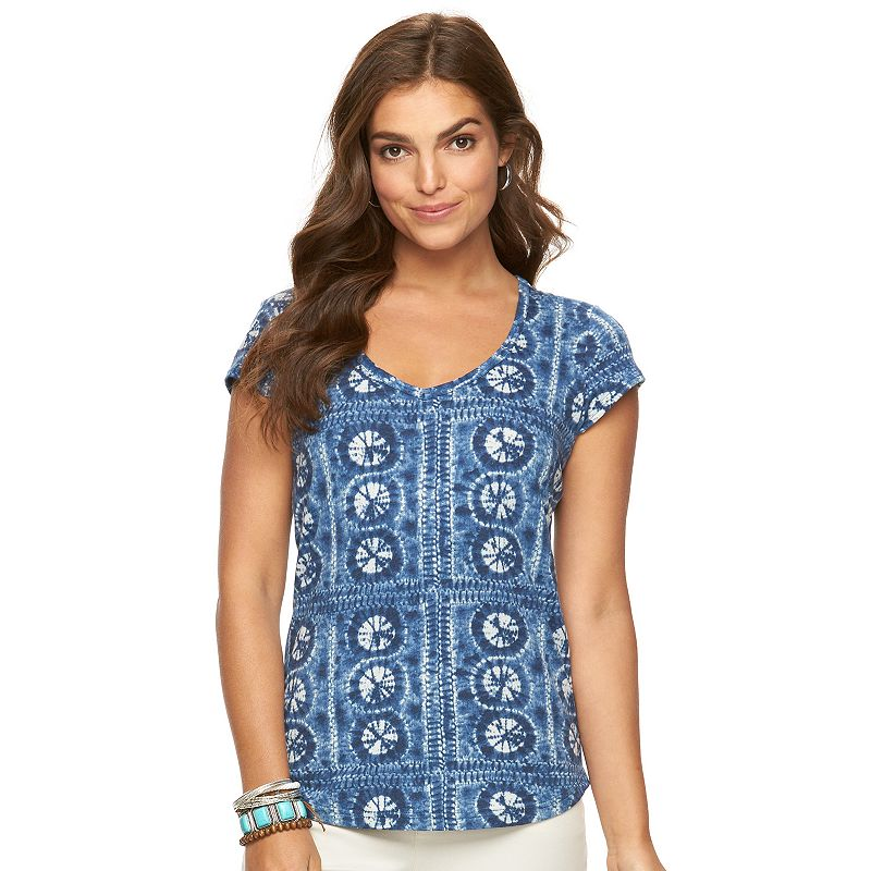 Women's Chaps Printed V-Neck Tee