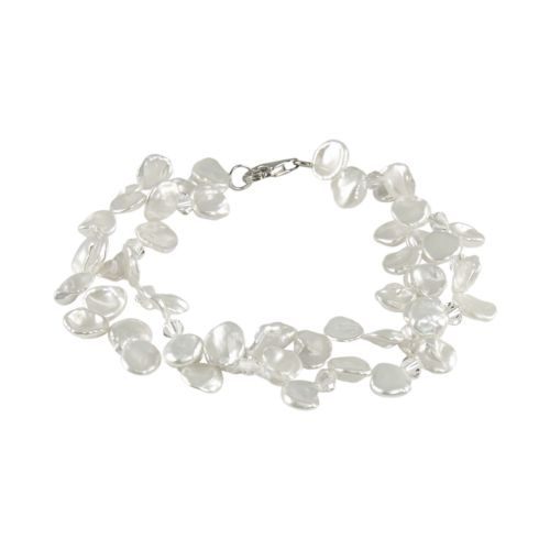 Sterling Silver Freshwater Cultured Pearl and Austrian Crystal Bracelet