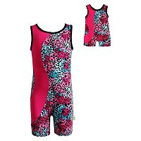 Girls 4-14 Dollie & Me Cheetah Glitter & Fuchsia Biketard Set