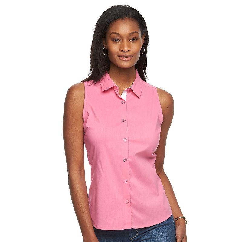 Women's Harve Benard Button-Down Sleeveless Shirt