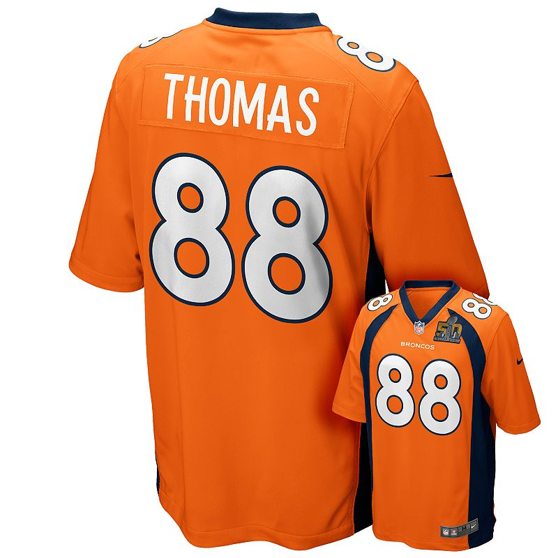 Men's Nike Denver Broncos Demaryius Thomas Super Bowl 50 Patch Replica Jersey