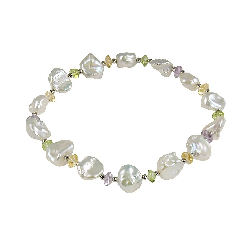 Sterling Silver Freshwater Cultured Pearl and Gemstone Stretch Bracelet