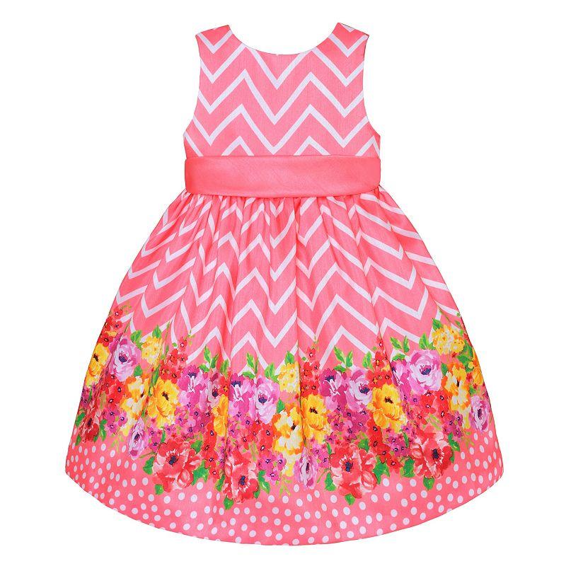 Girls 7-16 American Princess Chevron Floral Dot Shantung Silk Dress