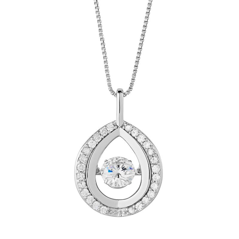 Forever Classic Sterling Silver 1 3/8 Carat T.W. Lab-Created Moissanite Teardrop Pendant