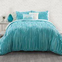 Seventeen Aqua Rouched Chevron Comforter Set