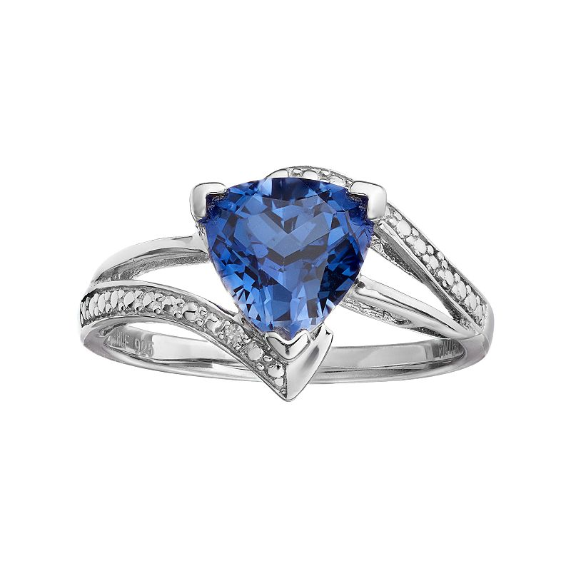 Sterling Silver Lab-Created Sapphire Bypass Ring