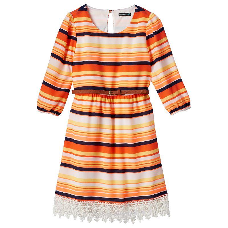 Girls 7-16 My Michelle Geometric Crochet Hem Babydoll Dress