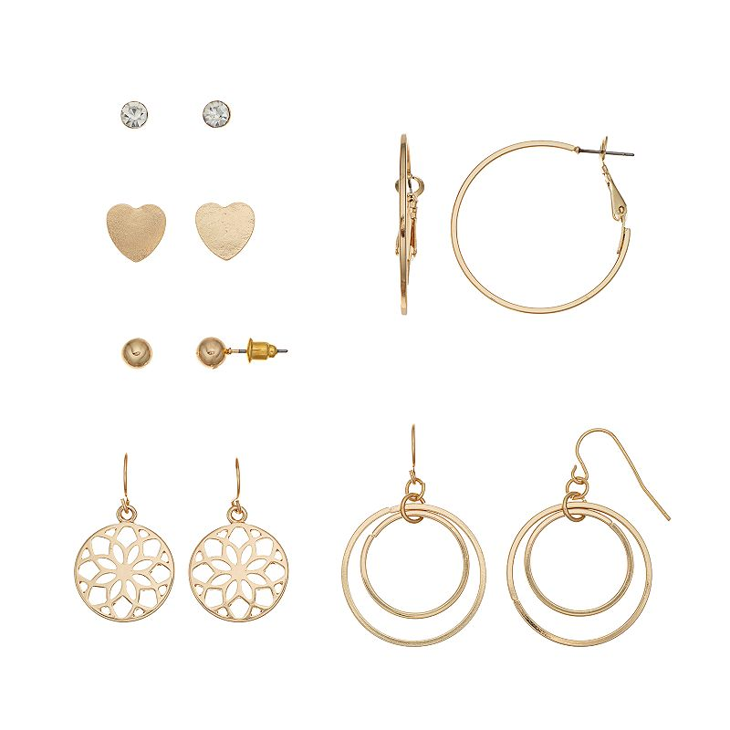 Mudd® Heart & Filigree Flower Earring Set
