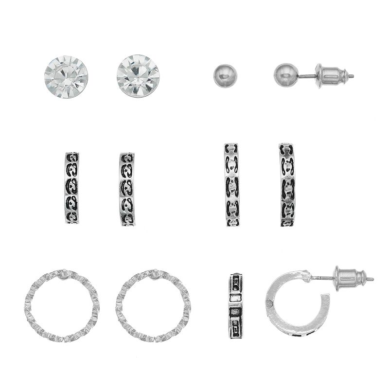 Mudd® Stud & Textured Hoop Earring Set