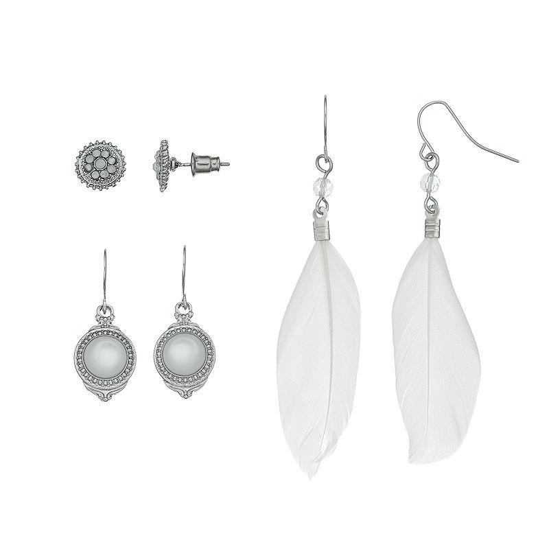 Mudd® Stud & Feather Drop Earring Set