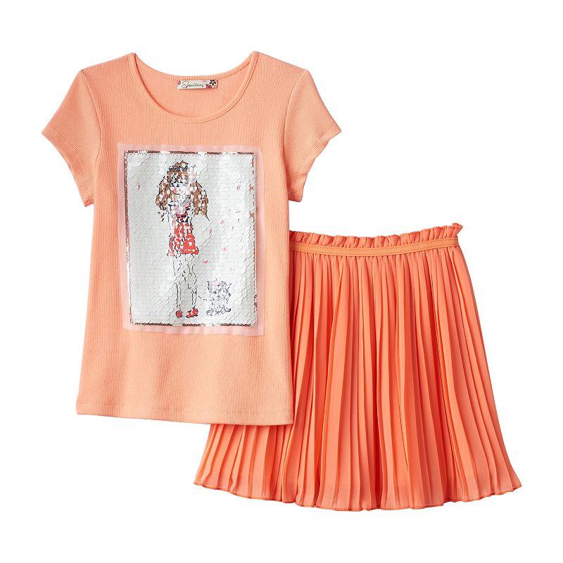 Girls 7-16 Speechless Sequined Tee & Shirred Skirt